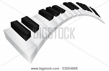 Piano Black And White Wavy Keyboard 3D Illustration