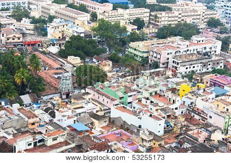 Cityscape of crowded Indian city