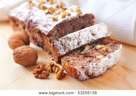 Banana Cake With Walnuts And Dark Chocolate