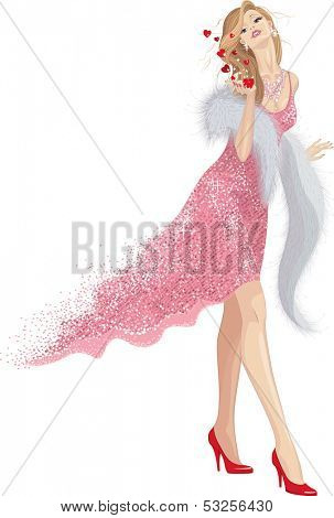 Beautiful woman in shining pink dress and with fur-stole sending blow kisses