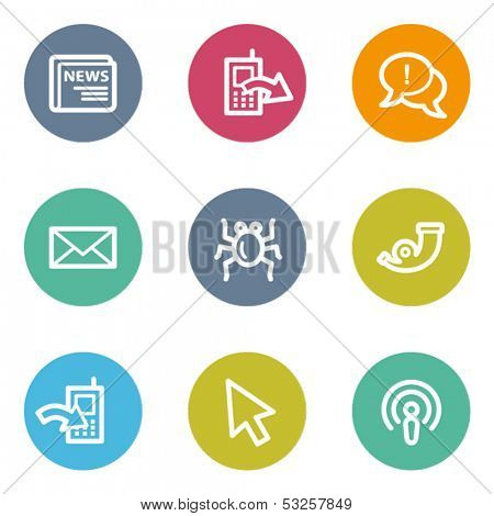 Internet web icons set 2, color circle buttons