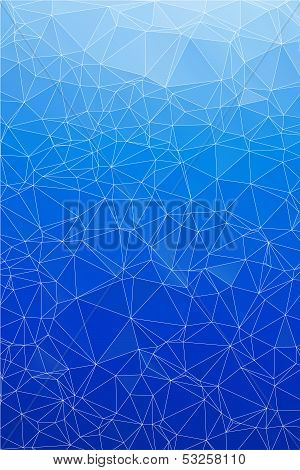Blue ice abstract background polygon.