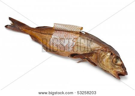 Smoked haddock fish on white background