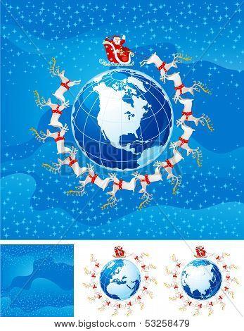 Santa Klaus flight  above America