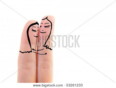 two female fingers like a two women embracing in love over white background, lesbian concept