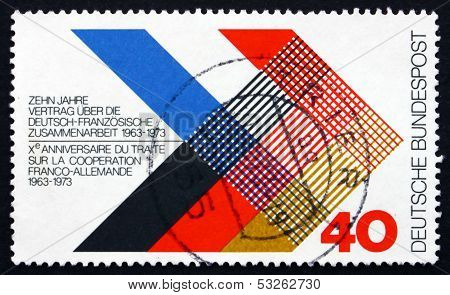 Postage Stamp Germany 1973 Colors Of France And Germany Interlac