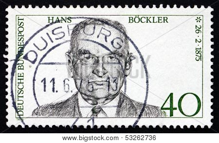 Postage Stamp Germany 1975 Hans Bockler, Politician