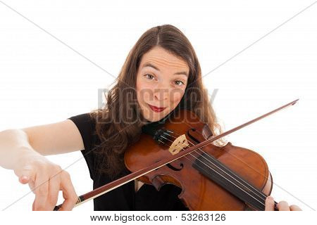 The Beautiful Young Woman Is Playing The Violin