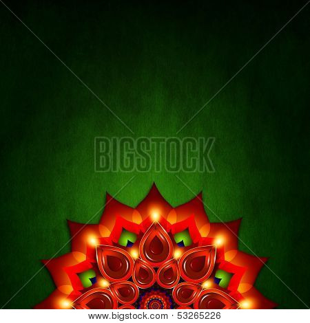 Oil Lamp With Diwali Diya Elements Over Green  Background
