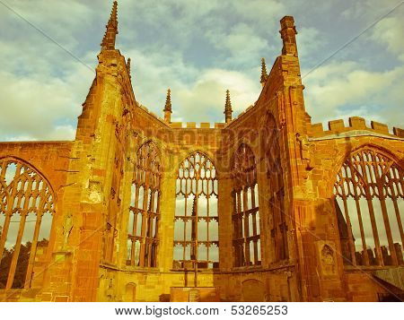 Retro Looking Coventry Cathedral Ruins