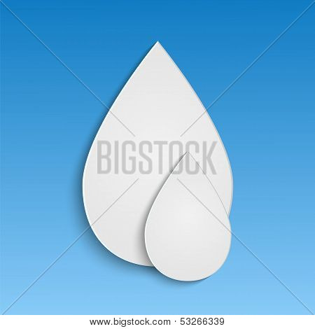 Water Drop White On A Blue Background.application Of White Paper.vector