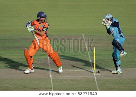 SOUTH AFRICA - DECEMBER 22: Unidentified players during a one-day cricket match between the Eagles and Titans (Titans won by four wickets) on December 22, 2009 in Bloemfontein, South Africa