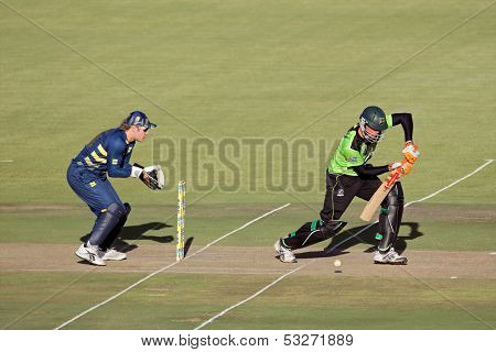 SOUTH AFRICA - DECEMBER 22: Justin Kreusch & Morne van Wyk during a one-day cricket match between the Knights and Warriors (Knights won them match) on November 12, 2010 in Bloemfontein, South Africa
