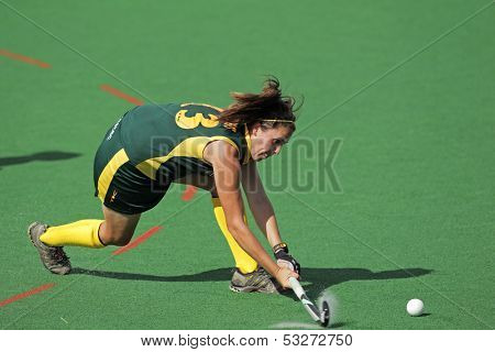 BLOEMFONTEIN, SOUTH AFRICA - FEBRUARY 8: Lisa-Marie Deetlefs of South Africa in action during a womens field hockey match between South Africa and Belgium, Bloemfontein, South Africa, 8 February 2011