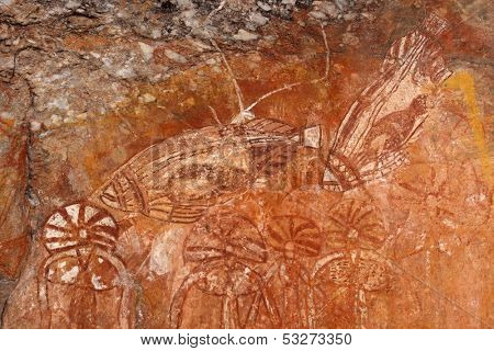 Aboriginal rock art depicting fishes, Nourlangie, Kakadu National Park, Northern Territory, Australia