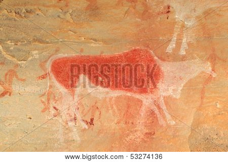 Bushmen (san) rock painting of an eland antelope and human figures, Drakensberg mountains, South Africa