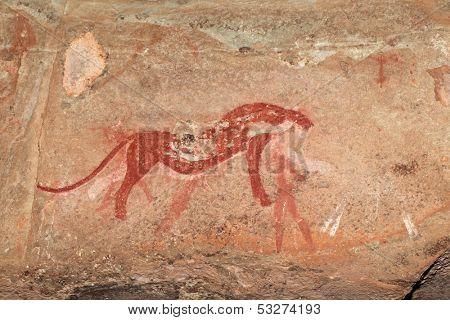 Bushmen (san) rock painting depicting a predator (cheetah), Drakensberg mountains, South Africa