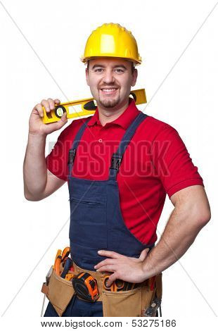 portrait of caucasian handyman isolated on white background