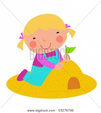 Illustration of little girl playing in sand