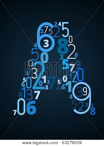 Letter A, vector font from numbers