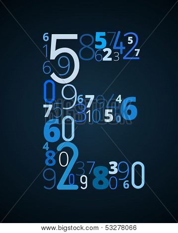 Letter E, vector font from numbers