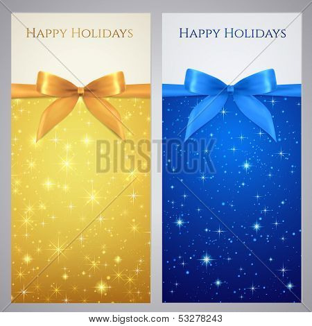 Gift certificate, Gift card, Coupon with bow (ribbon), sparkling, twinkling stars
