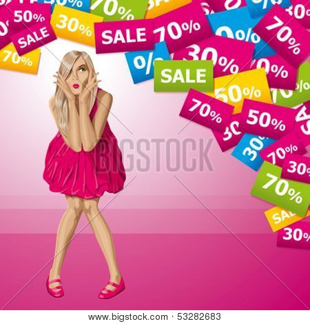Sale concept. Vector surprised blonde in pink dress do not know what to buy. All layers well organized and easy to edit