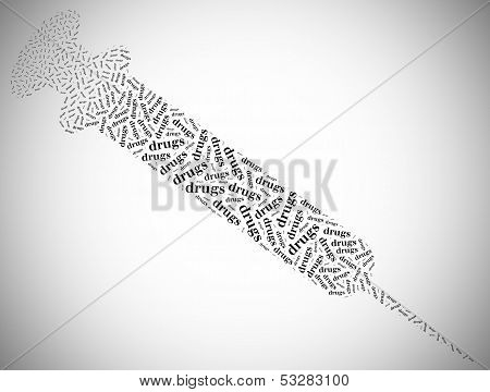 Tag Or Word Cloud Drugs Addiction Related In Shape Of Syringe