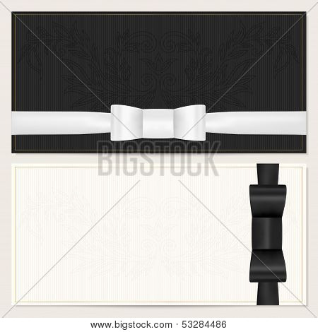 Gift certificate, Voucher, Coupon, Invitation or Gift card template with black bow (ribbon)