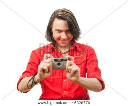 Young Guy Photographs Something.