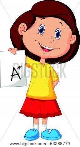 Girl cartoon showing A plus grade