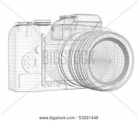 SLR camera. Wire frame
