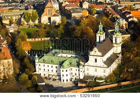 KRAKOW, POLAND - OCT 20: Birds eye view of Church St. Stanislaus Bishop, Oct 20, 2013 in Krakow, Poland. 1733-1751 the church received a baroque decor. It is one of the most famous Polish sanctuaries.