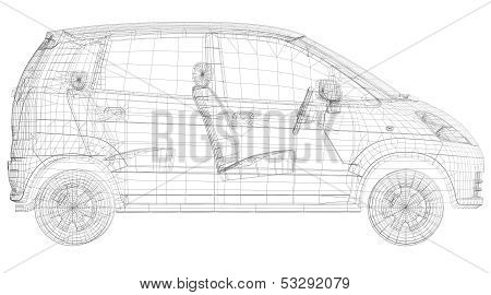 Wire frame car