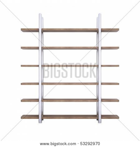 Wooden shelves with metal stands