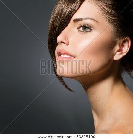 Fashion Haircut. Hairstyle. Stylish Fringe. Teenage Girl with Short Hair Style. Beauty Teenager Girl Portrait.