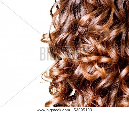 Wavy Hair isolated on white. Border of Curly Brown Long Hair