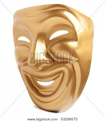 Comedy  theatrical mask isolated on a white background