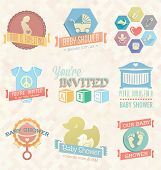 Photo of vector set: baby shower invitation labels and icons.