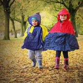 Little kids in raincoats walking in the park. Rainy day concept.