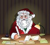 stock photo of inkpot  - Illustration with Santa Claus who reads letters from children in the Eve of Christmas drawn in cartoon style - JPG