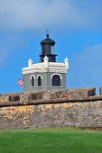 stock photo of el morro castle  - Light house in El Morro castle at old San Juan - JPG