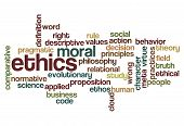 stock photo of ethics  - ethics moral philosophy word cloud concept on white - JPG