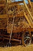 stock photo of threshing  - A pitchfork leans against a loaded hayrack of bundles ready for threshing - JPG