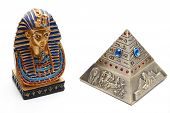 stock photo of pharaoh  - Pyramid ashtray with Pharaoh on white background - JPG