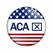 stock photo of mandate  - A white button with word ACA and thumbs up icon isolated on white Affordable Care Act is not good - JPG