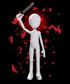 picture of serial killer  - Blank psychotic figure covered in blood with a knife - JPG