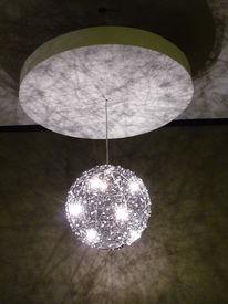 stock photo of light fixture  - modern lighting fixtures on a ceiling in restaurant - JPG