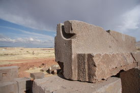 stock photo of pumapunku  - Ancient ruins of Puma Punku - JPG
