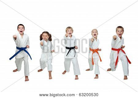 Young five athletes are hitting a punch hand